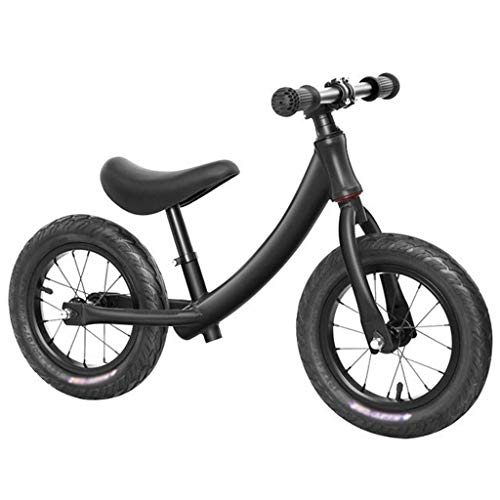 Balance Fahrrad Kinder 12 '' ohne Pedale Bike Eisenrahmen Scooter Slider Super Light Weight Fahrrad-Kinder Gleichgewicht Auto-Baby-Fahrrad Spielzeug 2-6 Jahre (Color : Black)