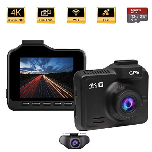 Dash Cam Front and Rear, OnReal M1-4K Dash Cam, 2160P+1080P Dual Lens Car Dashboard Camera DVR with...