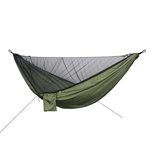 WRJ Hängematte Outdoor Camping mit Moskitonetz 2 Personen Schnell Trocknende Fallschirm Atmungsaktiv Ultraleichte Travel Hammock für Reise, Strand, Garten,1