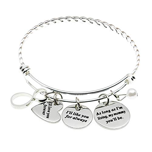 MS. CLOVER - Pulsera para el día de la Madre con Texto en inglés I'Ll Love You Forever Gifts for Mom Grandma Mother of The Bride