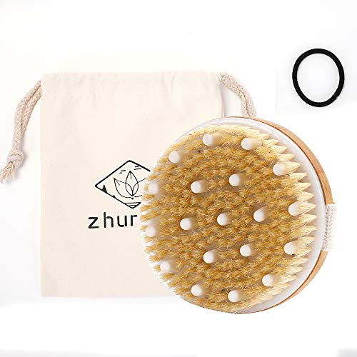 Zhurson Dry Brushing Body Brush, 100% Natural Bristle bath Brush for Remove Dead Skin Toxins Cellulite, Exfoliating, Stimulate Blood Circulation, Improve Lymphatic System, Accelerate Metabolism