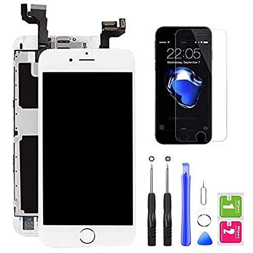 Hoonyer Pantalla para iPhone 6S Pantalla táctil LCD Pantalla digitalizadora Herramientas de reparación (con botón de Inicio, cámara Frontal,Sensor de proximidad, Altavoz) Blanco