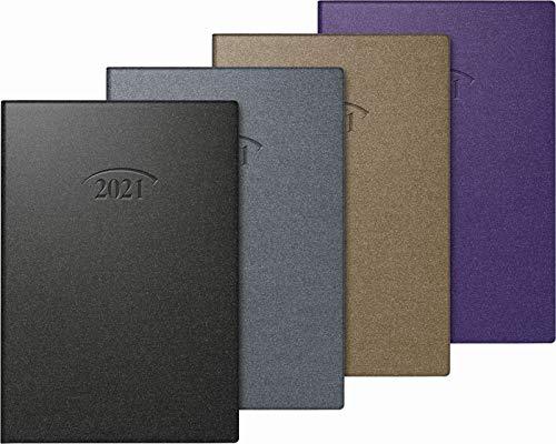 BRUNNEN 1071210951 Taschenkalender 2021 , Modell 712 , 2 Seiten = 1 Woche , 7,6 x 10,2 cm , Blattgröße 7,2 x 10,2 cm , Kunststoff-Einband Artistico