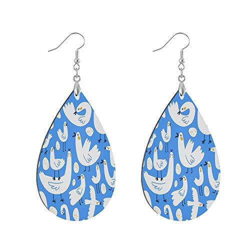 ADMustwin Wooden Earrings Funny Animal Goose Pattern for Women Girls Silver Plated Copper Earrings Teardrop Earrings Lightweight Dangle Earrings Fashion Jewelry