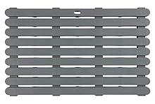 WENKO Tarima de baño Indoor & Outdoor gris - alfombra de baño, rejilla para ducha, baño, piscina, sauna con estructura antideslizante, Plástico, 80 x 3 x 50 cm, Gris