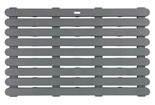 WENKO Caillebotis de bagnoire gris - Tapis de bain, caillebotis pour la douche, salle de bain, pool, sauna, avec structure antidérapante, Plastique, 80 x 3 x 50 cm, Gris