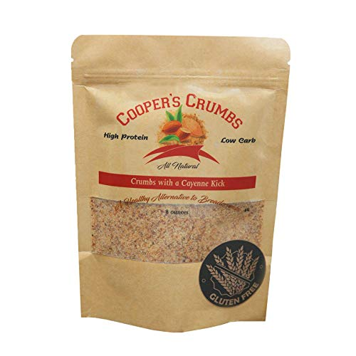 Cooper's Crumbs All Natural Gluten Free Low Carb Bread Crumb Alternative, High Protein, Vegan, Certified Kosher, Paleo, Keto (Crumbs with a Cayenne Kick)