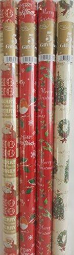 Rotoli di carta da regalo natalizia, con motivi tradizionali, 4 rotoli da 5 m