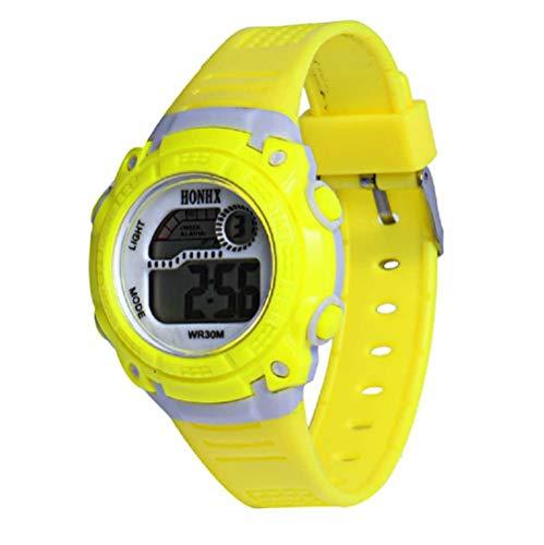 WSSVAN Reloj del estudiante Reloj multifuncional deportivo impermeable Reloj de cuarzo LED Reloj deportivo deportivo (Amarillo)