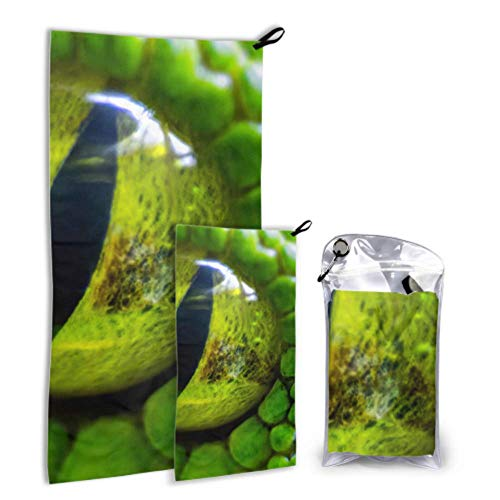 N\A Vert Boa Constrictor 2 Pack Serviette De Plage en Microfibre Serviette De Camping Légère Ensemble Séchage Rapide Meilleur pour Gym Voyage Randonnée Yoga Fitnes
