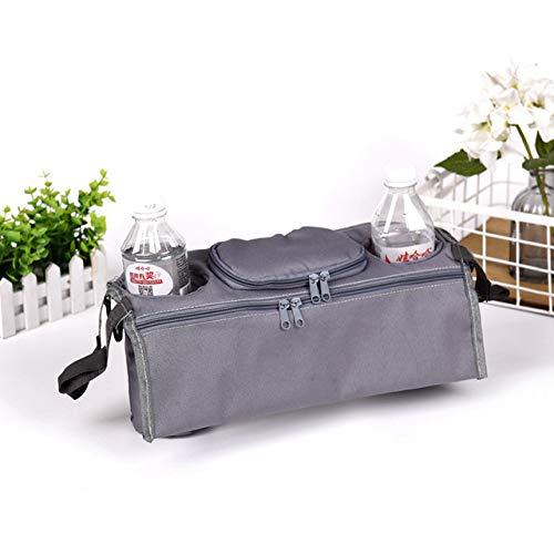 Bolsa para cochecito de bebé, bolso cambiador, para colgar el coche, botella, silla de ruedas, bolsa portátil gris gris