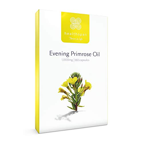 Evening Primrose Oil 1,000mg | Healthspan | Omega 6 Fatty Acids | Gamma Linolenic Acid | Vegan (180 Capsules)
