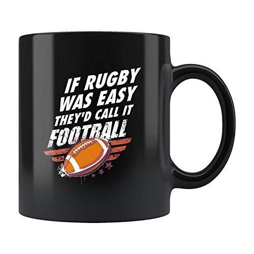 Divertida taza de rugby, taza de café de rugby, regalo de entrenador de rugby, regalo de fan de rugby, regalo de papá de rugby, regalo de mamá de rugby, tazas de café de porcelana circulares de 11 onz