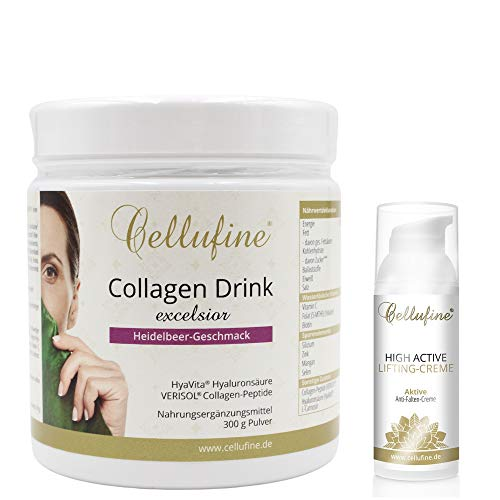 Cellufine® Verisol Collagen Drink excelsior mit 200mg Hyaluronsäure (300g) + High Active Lifting-Creme - 50 ml