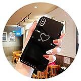 Fashion-Lover Love Heart Case - Carcasa para iPhone X XR XS MAX (TPU suave, con motivos brillantes, para iPhone 6S, 6, 7, 8 Plus, parejas, corazón BK, para iPhone XR