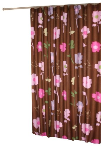 Pink flowers on brown black shower curtain
