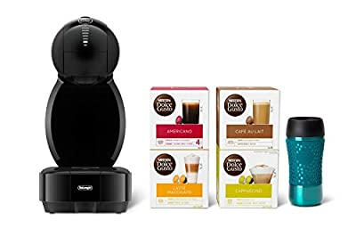 De'Longhi Nescafé Dolce Gusto Colors,Single Serve Capsule Coffee Machine Starter Kit, including travel mug and Americano pods, EDG355.B1, Black