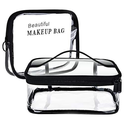 Olycism Bolsas de Aseo Transparente 2 Piezas Bolsa Portátil de Maquillaje Bolso de tocador Impermeables Neceser PVC Bolsa de Cosmético Organizador de Viaje con Cremallera para Vacación Almacenamiento
