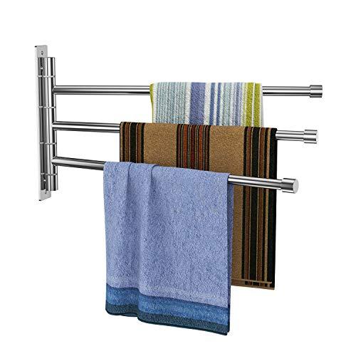 Derpras Handtuchhalter dreiarmig Edelstahl Gebürstet Handtuchstange 34CM 180°drehbar Wandmontage 5KG Belastung für Badezimmer und Küche