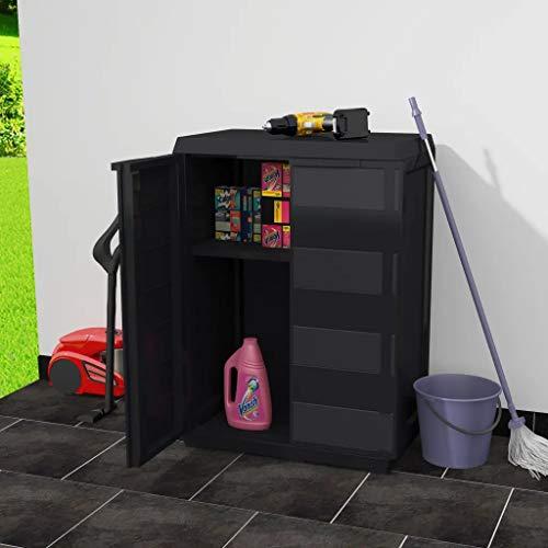 Cikonielf Niedriger Gartenschrank 65 x 38 x 87 cm, Gartenschrank aus Polypropylen mit 2 Türen und 1 Einlegeboden, belüftet, mit Ablaufrillen, schwarz
