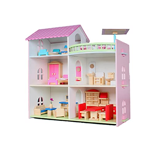 Calma Dragon Casa de Muñecas YD-8089, de Madera con Muebles, Mansion para Muñecas, 3 Pisos para muñecas, 32 Accesorios.