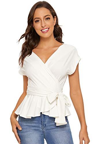 SheIn Women's Short Sleeve V Neck Ruffle Blouse Puff Sleeve Tie Waist Wrap Top Cream White Medium
