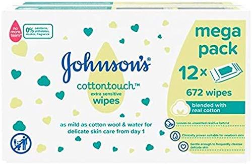 Johnson\'s Cottontouch Extra Sensitive Feuchttücher für Babys, 672 Tücher, gemischt mit echter Baumwolle, 30 x 12 cm