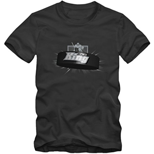 I'm a King #2 T-Shirt |Herren | Eishockey | Play Offs | Fanshirt, Farbe:Dunkelgrau (Dark Grey L190);Größe:XL