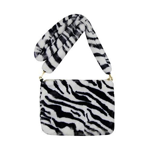 Bandolera de piel sintética para mujer y niña, diseño de leopardo, (negro (Black Zebra Print)), Talla única