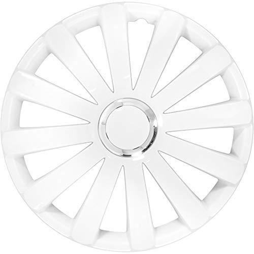 AutoStyle PP 5086W Jeu D'enjoliveurs Spyder, Blanc/Anneau Chromé, 16\