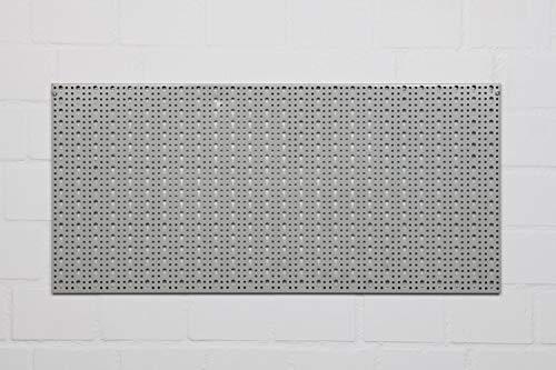 XL Lochblech aus Metall mit Schlüssellochung 25 mm. Pulverbeschichtet in Hellgrau, Stärke ca. 1 mm. Maße 98 x 46 x 1 cm. - 4