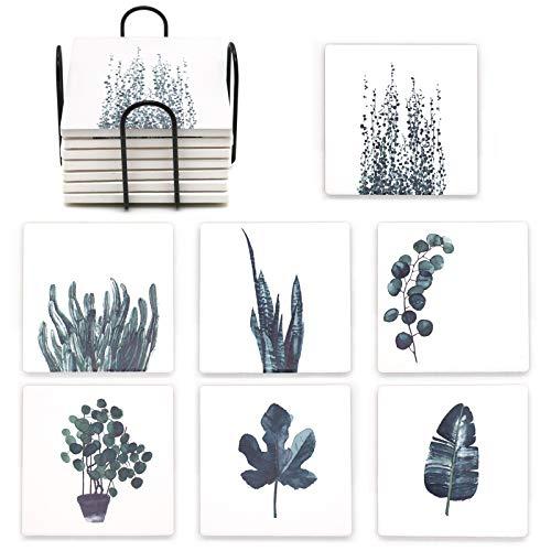 QUMENEY 7 posavasos con soporte, posavasos de piedra absorbente para tazas y tazas, posavasos de hojas cuadradas para el hogar, bar, restaurante, cocina