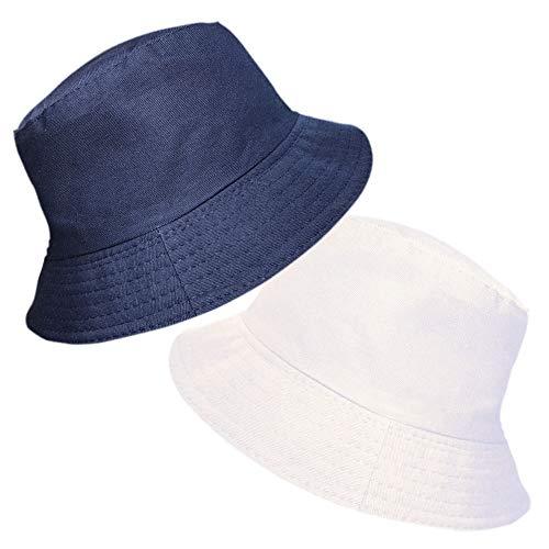 TOSKATOK TOSKATOK® UPF 50+ Damen Wendehut aus Baumwolle - Zwei Hüte in einem! Fischerhutdesign-Navy/White