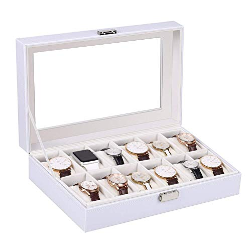 amzdeal Watch Box, 12 Slots Watch Case for Women and Men, White Watch Storage Case, Watch Organizer, Watch Display Box with Glass Top, Removable Pillow, Pu Leather, White