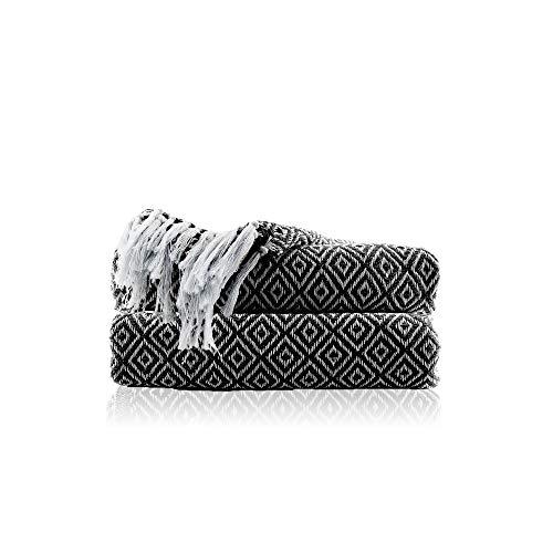 Baumwolle Schwarz Plaid Decke - 152x127cm Kuschel Weiches Gestrickt Tagesdecke Wohndecke Dekorativ Sofadecke für Sofa, Bett, Couch