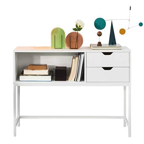 SoBuy FSB20-W Konsolentisch Beistelltisch Flurtisch mit 2 Schubladen und 1 offenem Fach Sideboard Weiß BHT ca: 110x80x30cm