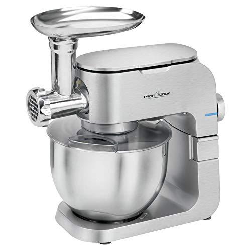 Küchenmaschine mit Fleischwolf Rührmaschine mit Edelstahl Schüssel 6,5 Liter (Knetmaschine, 1000 Watt, Rührbesen,Knethaken, 6 Stufen)