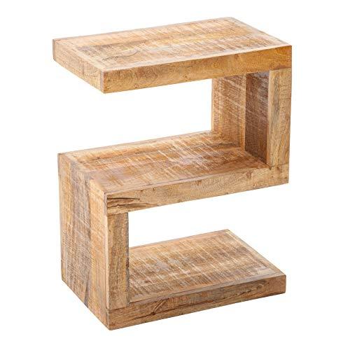 riess-ambiente.de Massiver Beistelltisch S 60cm Mango Massivholz variabel stellbar Handarbeit Holztisch Tisch
