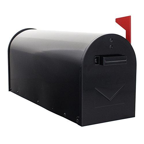HomeDesign Briefkasten HDM-1300-Schwarz, Stahlerzeugnis, Mechanischer Postmelder, Amerikanischer Briefkasten
