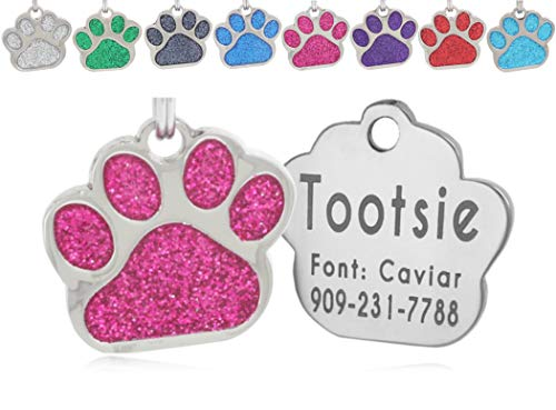 io tags Pet ID Tags, Personalized Dog Tags and Cat Tags, Custom Engraved, Easy to Read, Cute Glitter Paw Pet Tag (Pink)