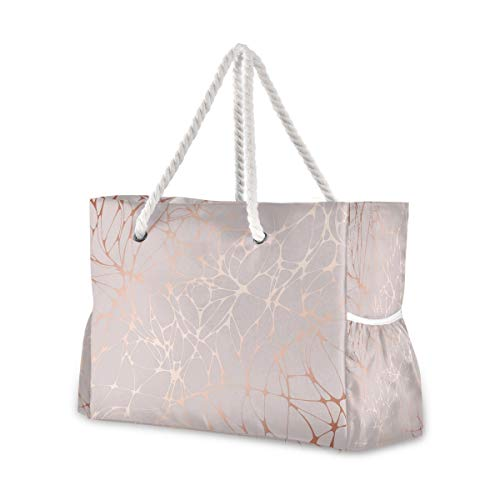 Beach Bag with Cotton Rope Handles, Rose Marble Shoulder Bag Beach Tote Bag, Top Zip, Multiple Exterior & Interior Pockets