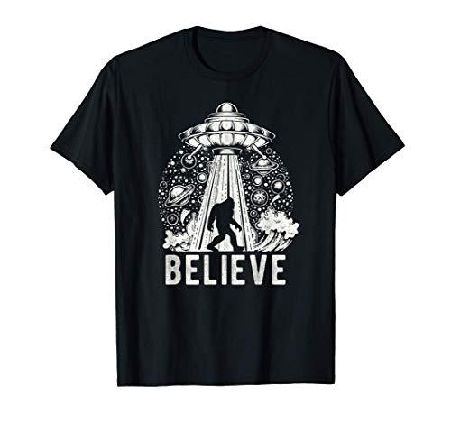 UFO Abduction Believe Vintage Alien Spaceship Bigfoot T-Shirt