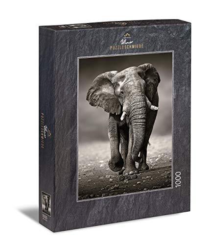 Ulmer Puzzleschmiede - Puzzle Elefante - Puzzle de 1000 Piezas - Poderoso Elefante como la fotografía en Blanco y Negro