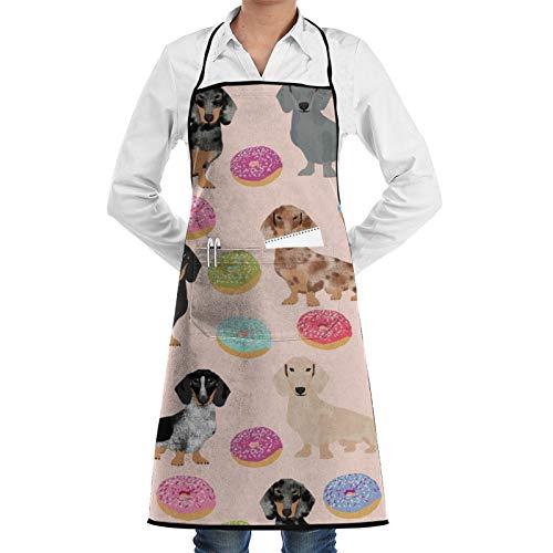Dyfcnaiehrgrf Donuts Dachshunds perro mujeres hombres ajustable barbacoa cocina delantal bolsillo impermeable aceite prueba