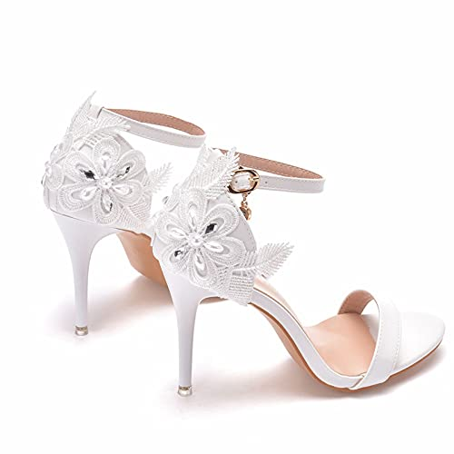 Zapatos de novia de mujer, 9CM Sandalias de princesa de tacón de...