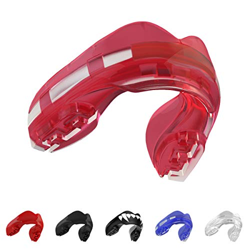 SAFEJAWZ Mouthguard for Braces, One Size Re-mouldable Gum Shield with Case for Boxing, MMA, Rugby, Martial Arts, Judo, Karate, Hockey and all Contact Sports (Ice Pink Gum Shield)