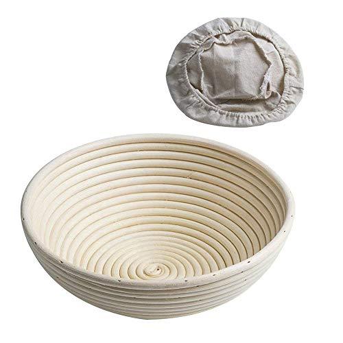 CANDeal Ø 22 cm Rund Gärkörbchen mit Leineneinsatz – Der ideale Gärkorb für Brotteig aus natürlichem Peddigrohr