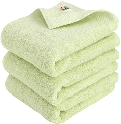 Imabari Towel Soft and Fluffy Towel, Luxury Cotton - 3 Piece Hand Towel Sets, Lime Green