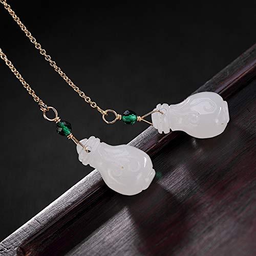THTHT Vintage Oorbellen S925 Sterling Zilver Vrouwen Wit Jade Vergulde Gepersonaliseerde Vaas Lange Oordraad Elegante Temperament High-End Gift Jade Oorbellen