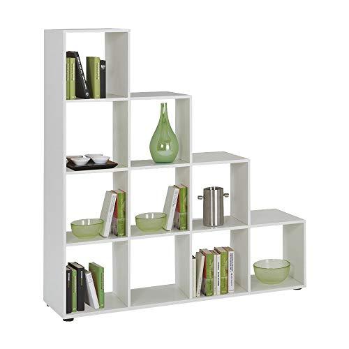 FMD furniture Treppenregal Raumteiler Bücherregal Raumtrenner 10 Fächer, in Weiß 138,5 x 141,5 x 32,6 cm (BxHxT)